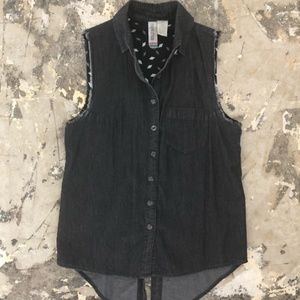 Mimi Chica EUC Cut Off Button Up Tank Top